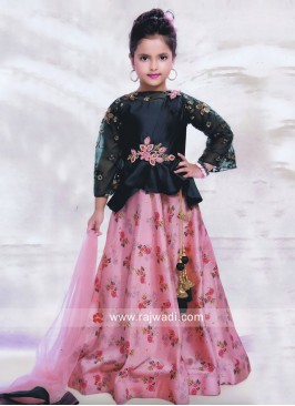 Flower Print Designer Choli Suit for Kids