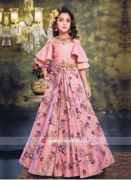 Flower Print Designer Gown for Kids