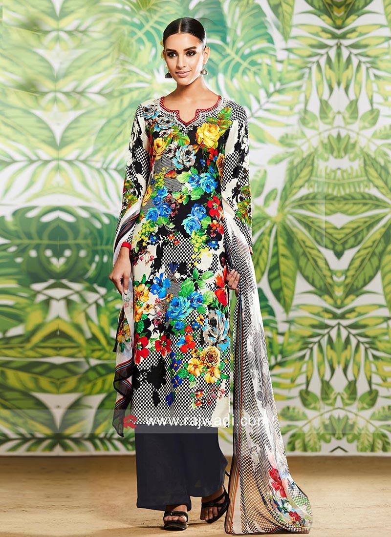 Flower Print Designer Pakistani Suit