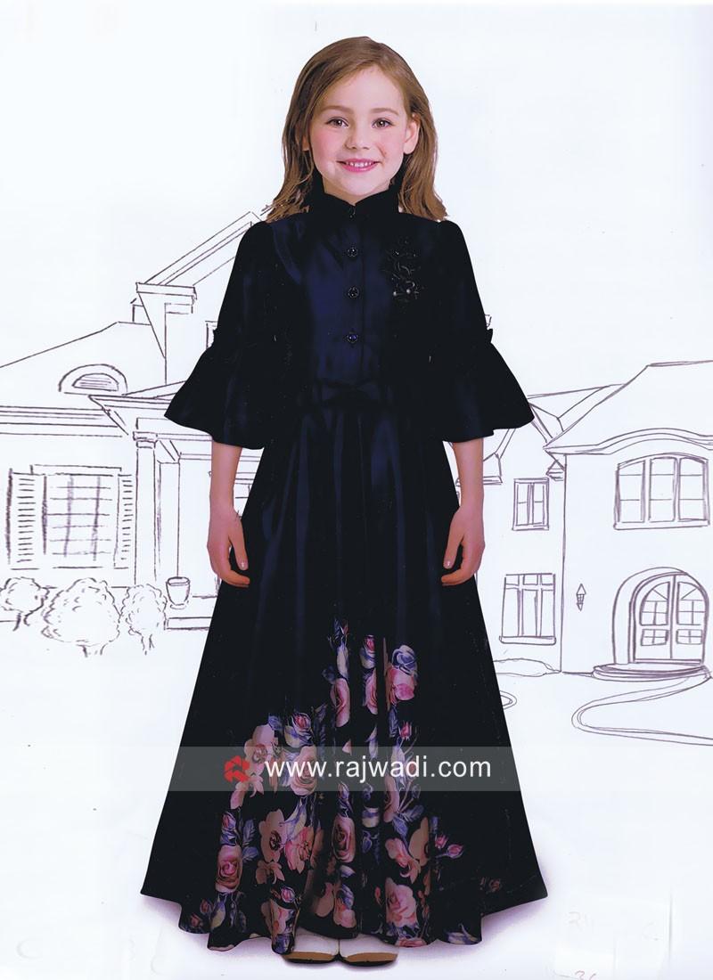 Flower Print Floor Length Anarkali Gown