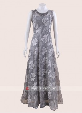 Flower Print Floor Length Gown