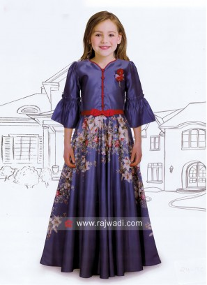 Flower Print Floor Length Kids gown
