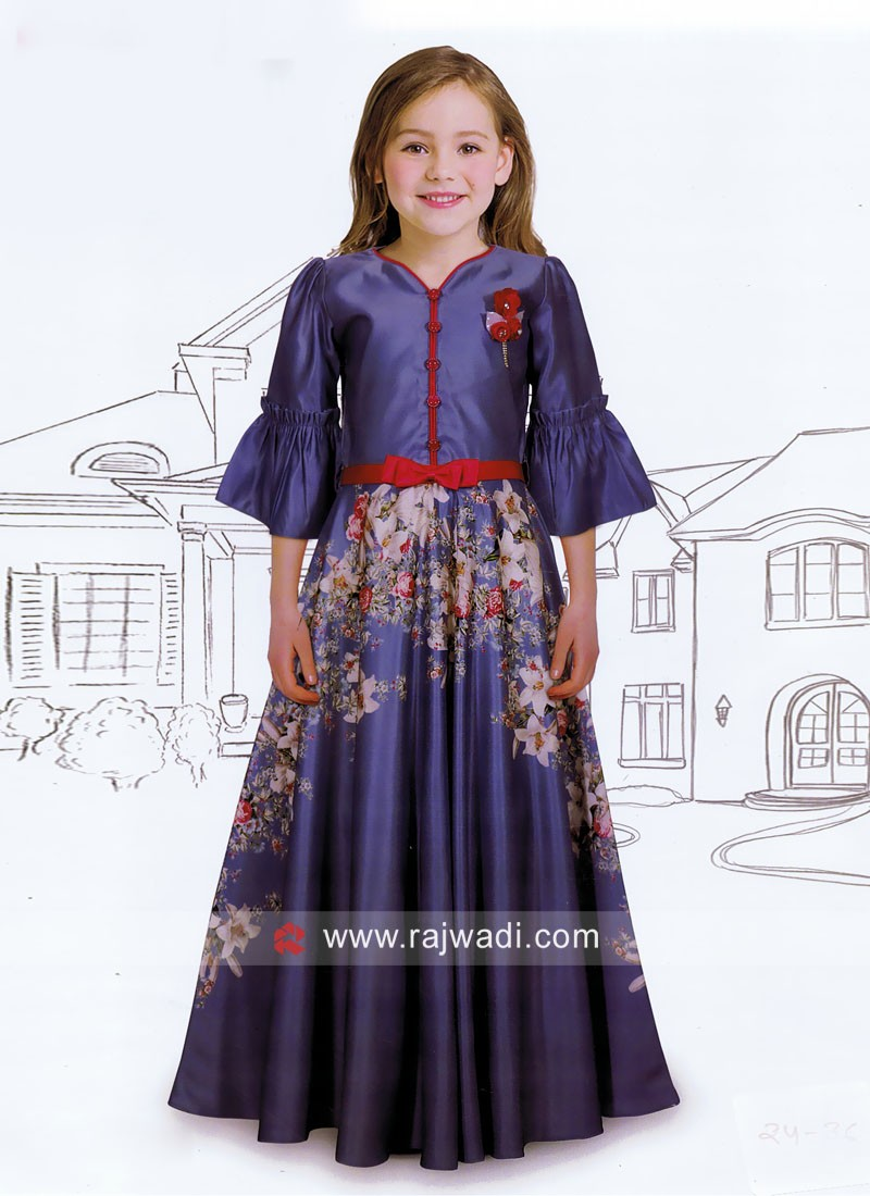 Flower Print Floor Length Kids gown