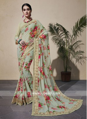 Flower Print Georgette Saree