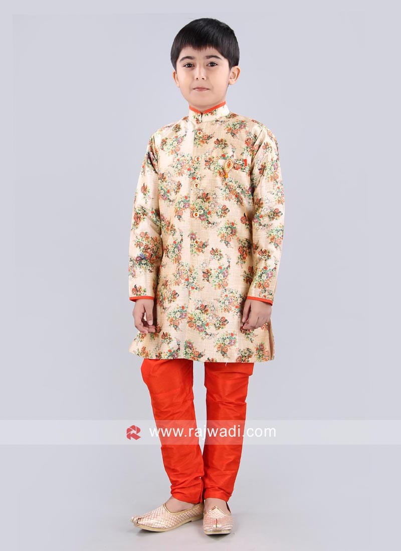 Flower Print Golden Yellow Color Indo Western