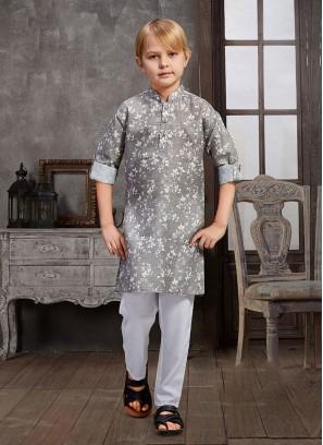 Flower Print Kurta Pajama For Boys