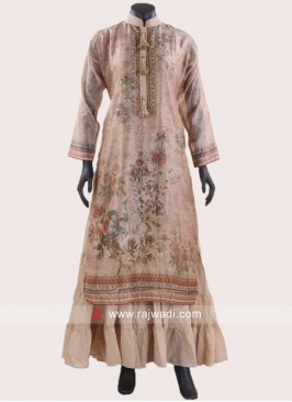 Flower Print Layered Kurti in Cream