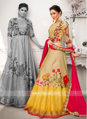 Flower Print Lehenga Choli with Dupatta