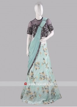 Flower Print Lehenga Saree