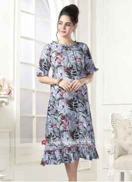 Flower Print Linen Kurti
