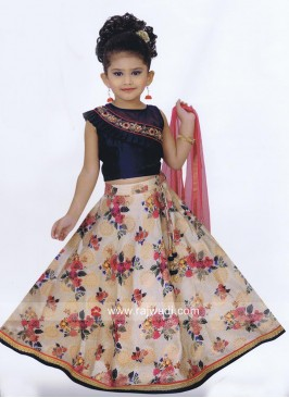 Flower Print Little Girls Choli Suit