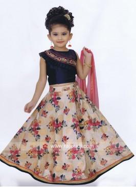 Flower Print Little Girls Choli Suit