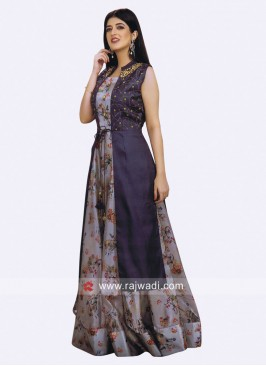 Flower Print Long Kurti with Embroidered Koti