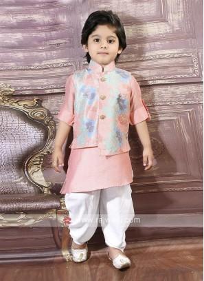 Flower Print Nehru Jacket For Boys