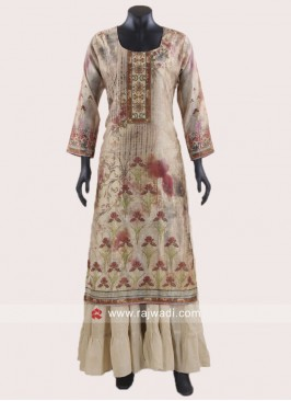 Flower Print Readymade Layered Kurti