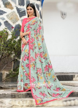 Flower Print Saree with Plain Blouse