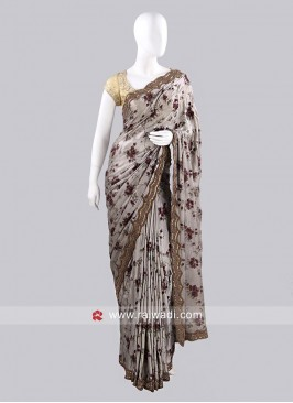 Flower Print Sari with Border