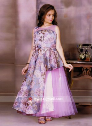 Flower Print Satin and Net Gown for Girls