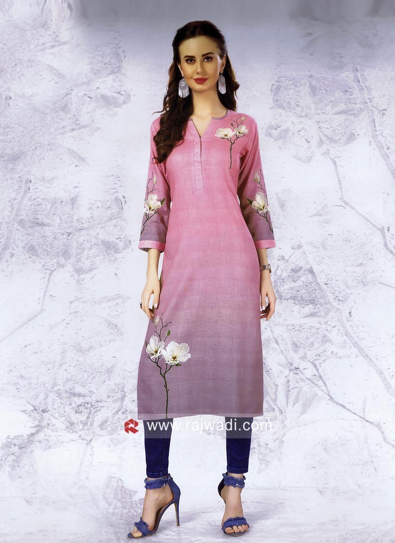 Flower Print Shaded Kurti