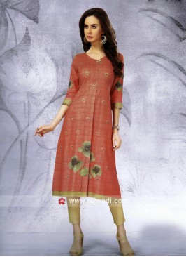 Flower Print Slit Cotton Kurti