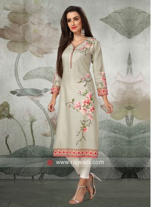 Flower Print Straight Fit Kurti