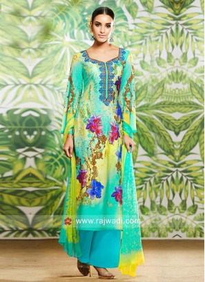 Flower Print Straight Salwar Suit