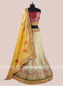 Flower Print Attractive Lehenga Choli