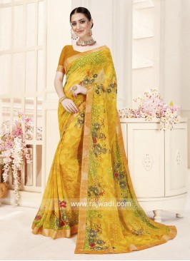 Flower Print Yellow Saree with Blouse