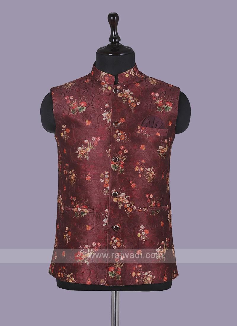 Flower Printed Art Silk red Nehru Jacket