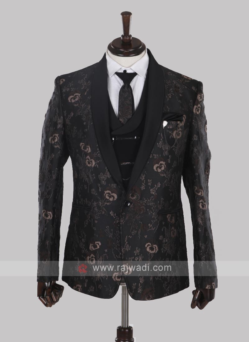 Flower printed black suit