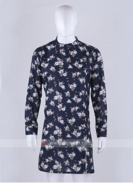 flower printed blue kurta