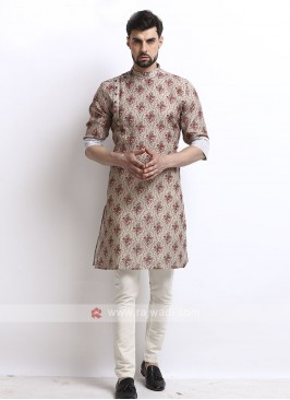 flower printed cream kurta