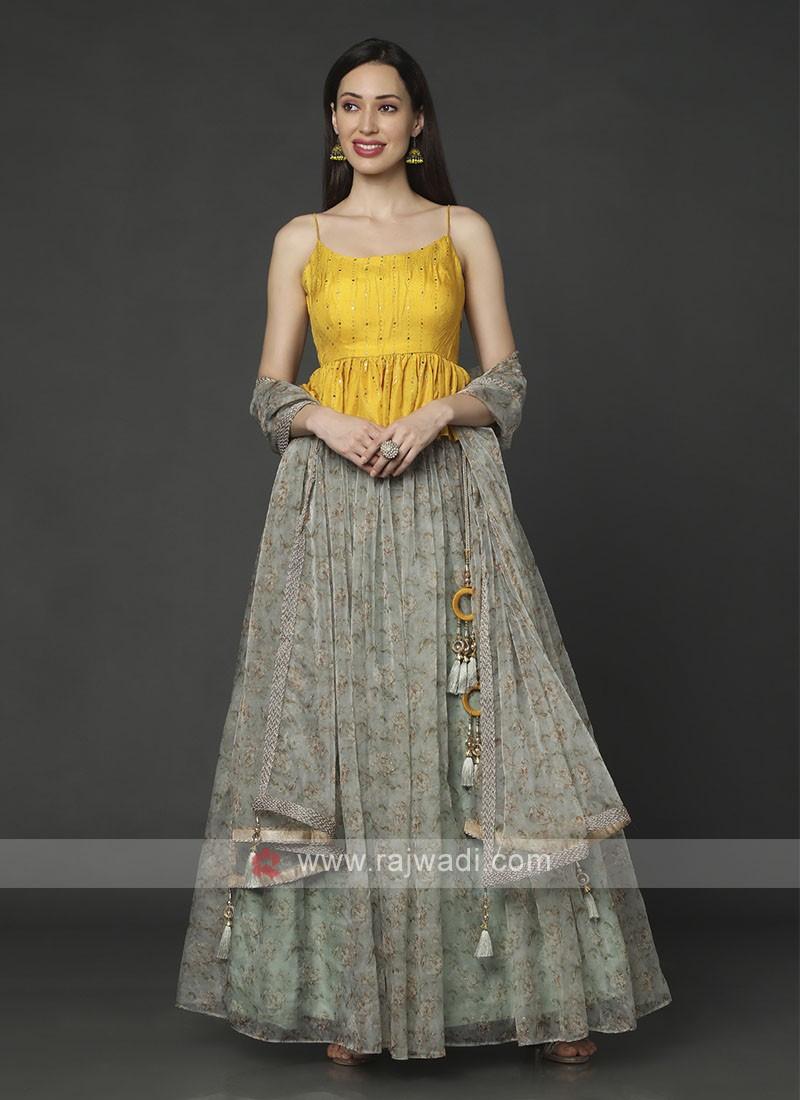 Flower Printed Designer Choli Suit