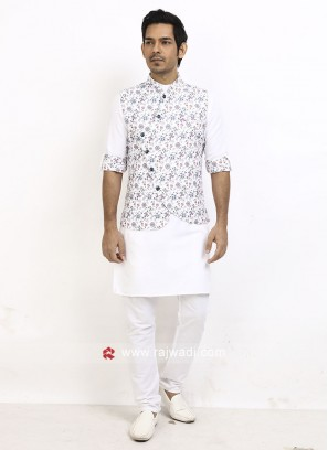 FLower Printed Nehru Jacket Suit