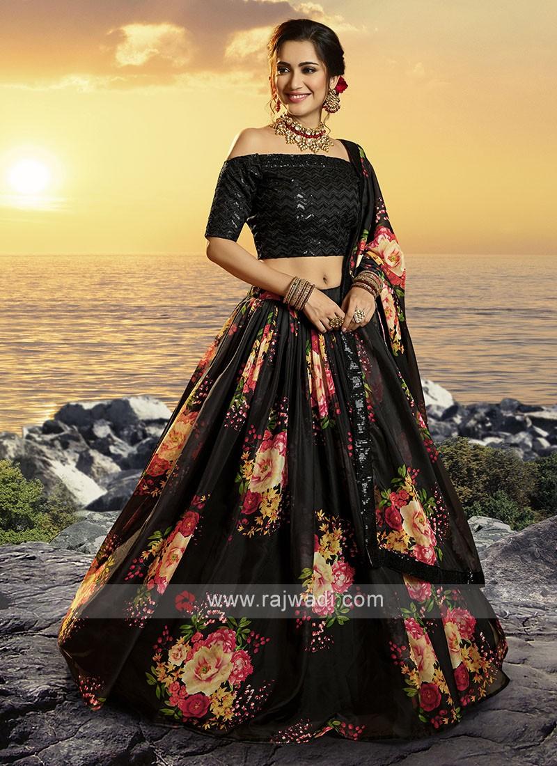 Flower Printed Lehenga Choli In Black