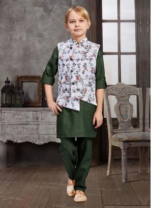Flower Printed Nehru Jacket Set For Wedding