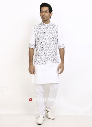 FLower Printed Nehru Jacket Suit