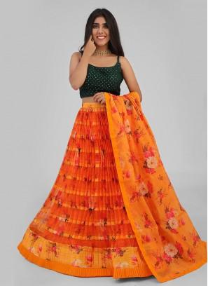 Flower Printed Orange And Green Choli Suit