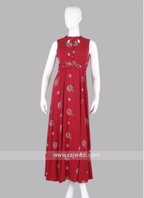 Flower Printed Red Maxi Dress