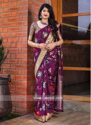 Flower Weaving Banarasi Silk Saree