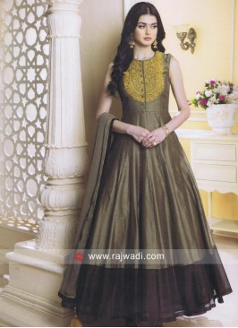 Flower Work Anarkali Salwar Suit
