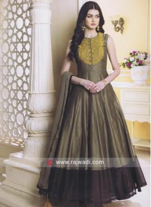 Flower Work Anarkali Salwar Suit