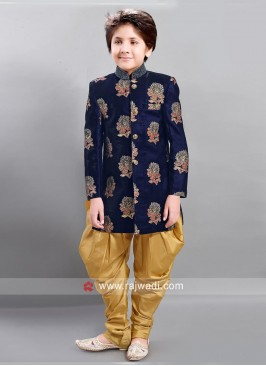 Flower Work Art Silk Boys Indo Western
