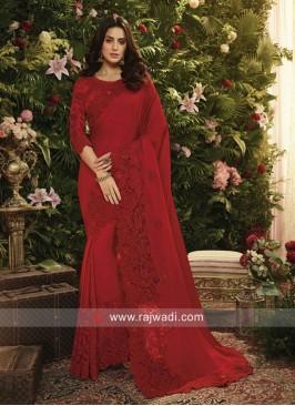 Flower Work Art Silk Saree in Red