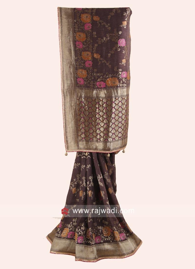 Flower Work Banarasi Silk Saree