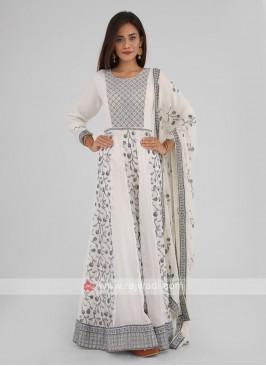 Flower Work Chiffon Anarkali Suit
