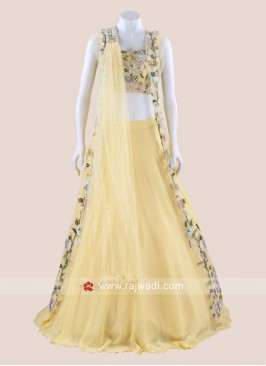 Flower Work Choli Suit with Attached Dupatta