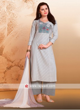 Flower Work Cotton Palazzo Suit