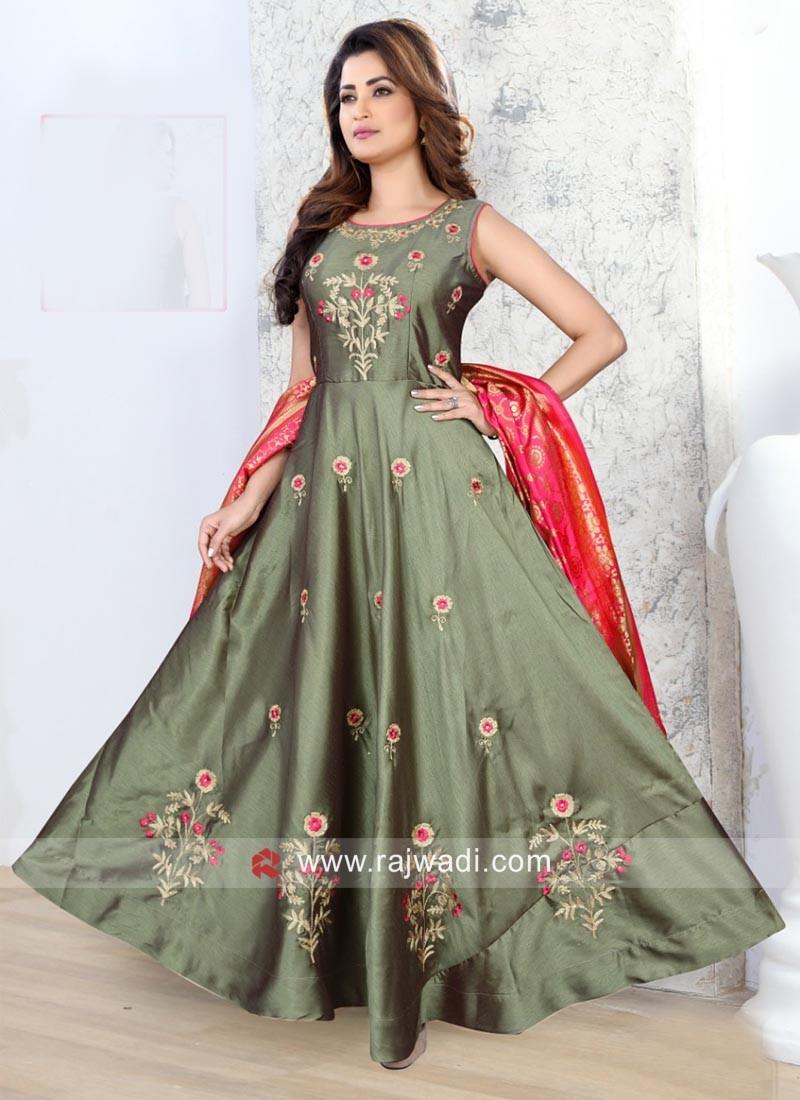 Flower Work Cotton Silk Anarkali Suit