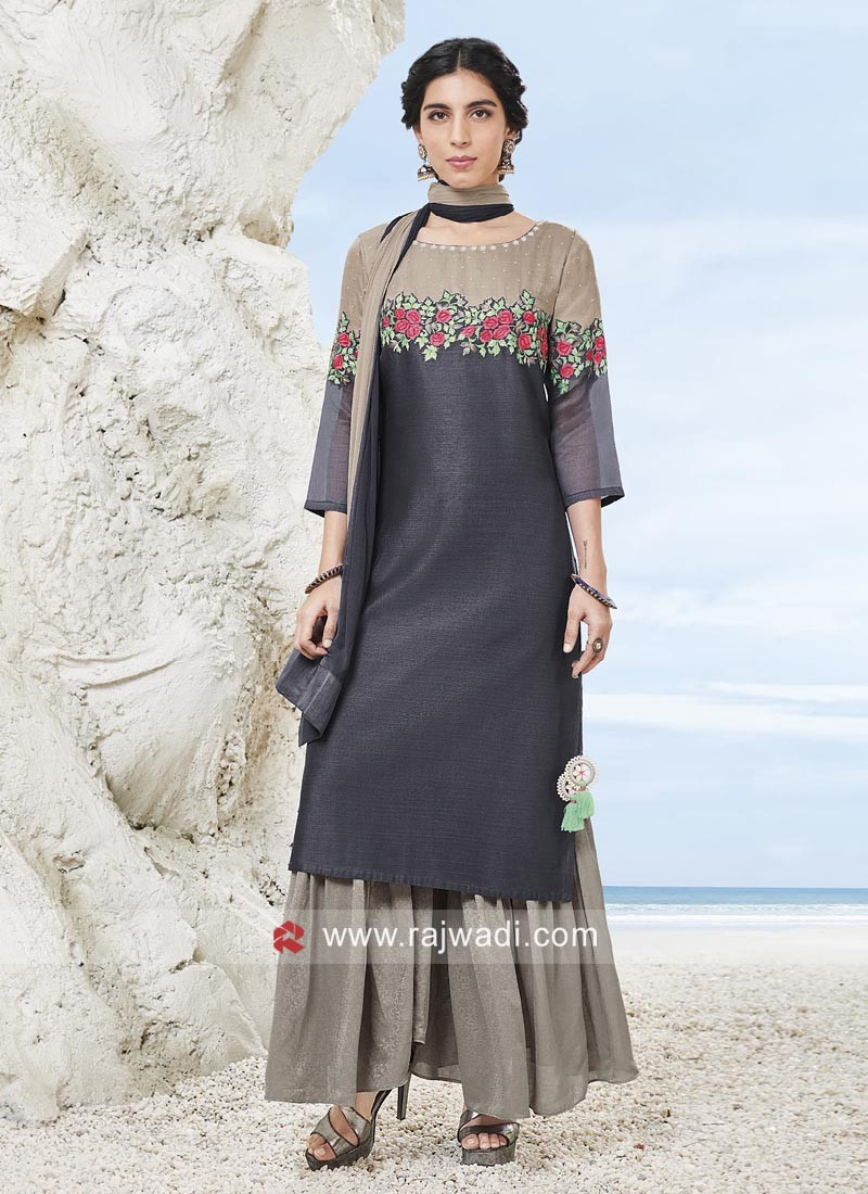 Flower Work Cotton Silk Palazzo Suit